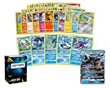 Pokemon Water Collection - 50 Pokemon Cards Plus 5 Rare Water Pokemon and 1 Water Ultra-Rare Card Free Lightning Card Collection Deck Box Include
