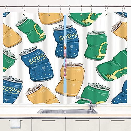 Cortina de Cocina,Latas de refrescos Rotos con Cerveza gaseosa y limón sobre Fondo Blanco., Cortinas Opacas térmicas Forradas para Ventana, 55 x 39 Pulgadas, 2 Paneles, Juego