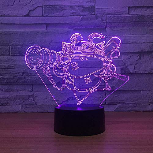 Lámpara 3D para niños de dibujos animados Lámparas de noche LED de 7 colores para niños Mesa USB LED táctil Luz nocturna para dormir para bebés