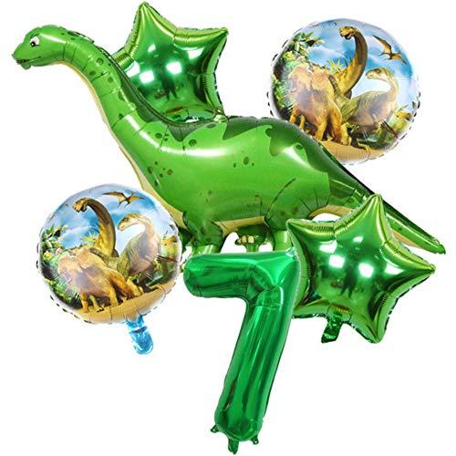 DIWULI, Juego de Globos Dinosaurios, XXL Dino Globo + Numero 7 Verde XL, Globos números años Aluminio Grande número Juguetes, 7° Cumpleãnos niña niño, Fiestas, decoración, Happy Birthday Decor