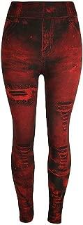 Women's Denim Print Fake Jeans Bottoms Solid Colors Seamless Full Length Leggings for All Seasons