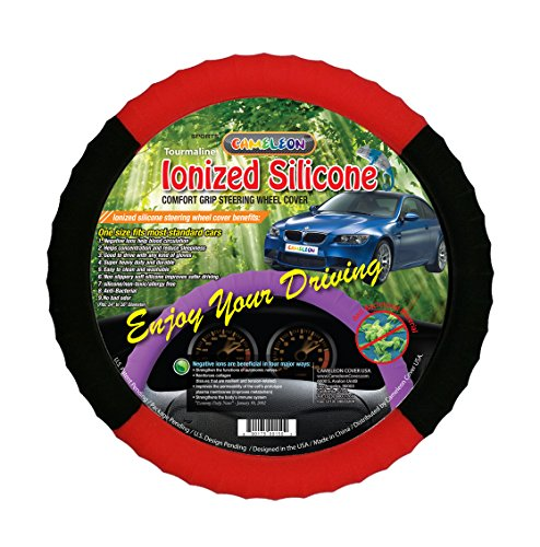 Cameleon Cover New Black and Red Silicone Steering Wheel Cover -Odorless BPA Free Best Grip! Negative Ion Cover