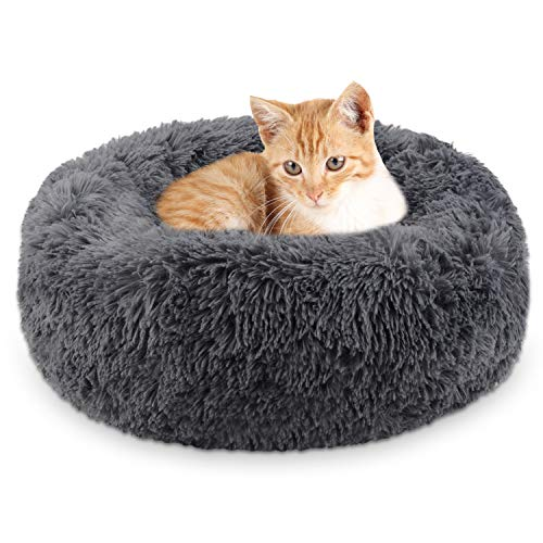 Legendog Katzenbett, warme tierbett katzenbett/Katzen bettchen/Katzenschlafenbett/Haustierbett für das Katzenkätzchenschlafen (Dark Grey)