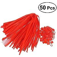 OUNONA 50 unidades ̈1cke Netzbeutel reutilizables Mesh bolsillos f ̈1r Gem ̈1se y fruta almacenamiento 60 cm (rojo)