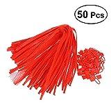 Ounona - Bolsas de malla reutilizables (50 unidades), color rojo