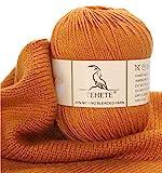 TEHETE Merino Wool Yarn for Knitting 3-Ply Soft Crochet Yarn (Ginger)