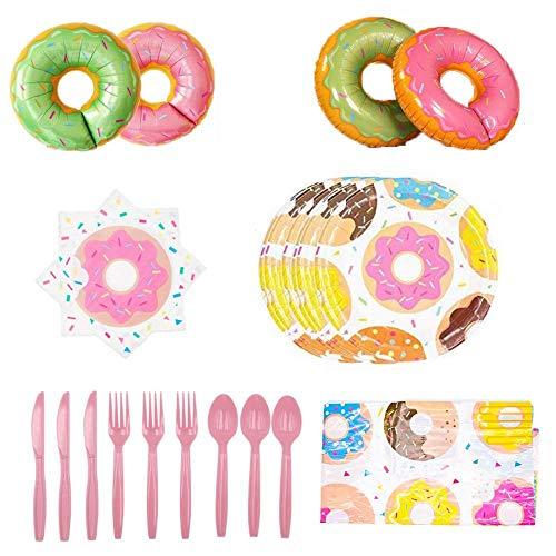 Heatigo Gebutstag Party Set de cumpleaños con forma de donut para 16 personas, vajilla de papel desechable, cuchillo y tenedor