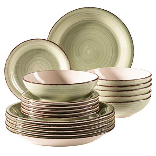 MÄSER 931876 Bel Tempo II - Set di piatti per 6 persone, stile vintage, 18 pezzi, in ceramica dipinta a mano, colore: Verde
