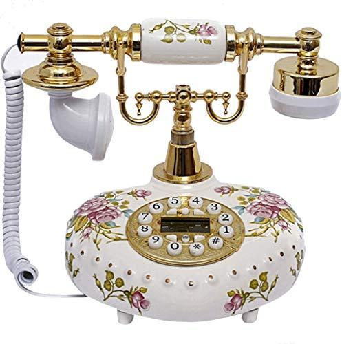 DHFDHD Teléfono Antiguo con Cable Teléfono Antiguo del teléfono del diseñador Nostalgia Telescopio teléfono de la Vendimia de cerámica Floral con Cable de teléfono