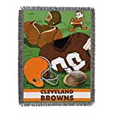 Officially Licensed NFL Cleveland Browns 'Vintage' Woven Tapestry Throw Blanket, 48' x 60', Multi Color