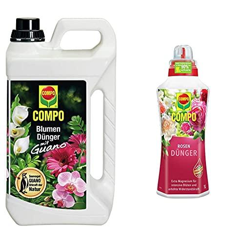 Compo Blumendünger mit Guano für alle Zimmer-, Balkon- und Terrassenpflanzen, 5 Liter & Rosendünger für alle Rosen im Zimmer, in Kübeln, Beeten sowie im Freiland, 1 Liter