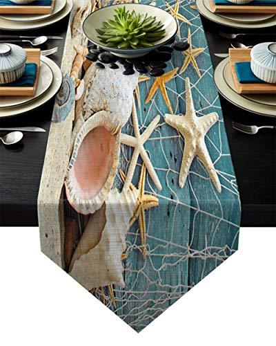 Coner Sea Star Conch Beach Tafelloper Tafelkleden Vakantie Vintage Feest Lange Tafel Vlekbestendig Dressoir Sjaal Eettafel, 36x183cm