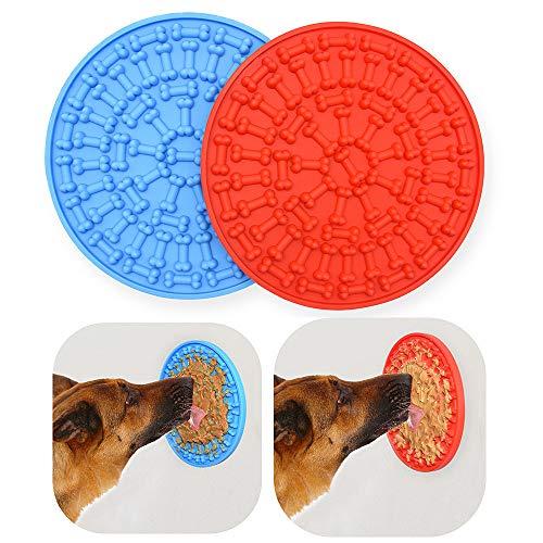 CS COSDDI Hunde-Leckmatte, Hunde-Badematte, Ablenkungsgerät mit Saugnapf für einfaches und lustiges Duschen, Blau und Rot