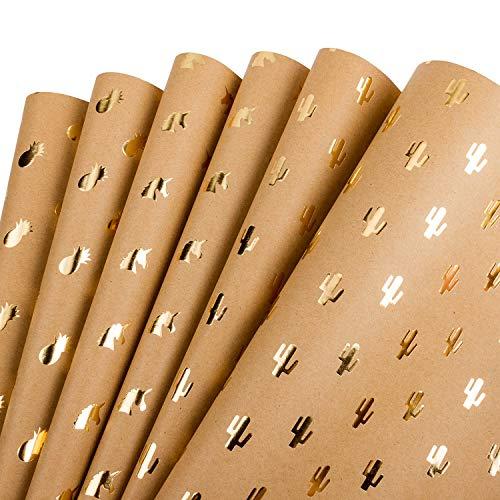 RUSPEPA Packpapier Kraft - Goldfolie Ananas Kaktus Einhorn Bedrucktes Kraftpapier Für Die Geschenkverpackung - 44,5 X 76 CM - 6 Blatt Als 1 Rolle Verpackt