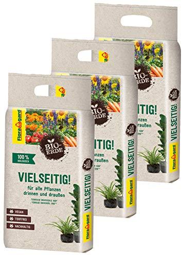 Floragard Bio-Erde Vielseitig 3x3 Liter - Universalerde für alle Pflanzen drinnen und draußen - torffrei und vegan