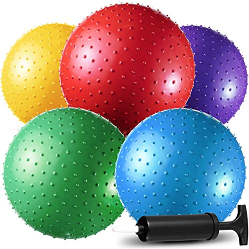Big Knobby Balls - (Pack of 5) 18 Inch Fun Bouncy Balls for Toddlers and Kids – Plus Added Hand...
