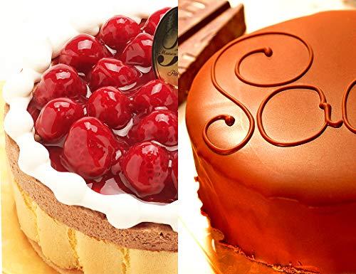 洋菓子店カサミンゴー 最高級洋菓子 ヴァルトベーレ木苺チョコレートケーキ&ザッハトルテ2種類お試しセット (誕生日プレートセット)