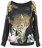 Emma & Giovanni -Top/Camiseta - Mujer (Leopardo, S-M)