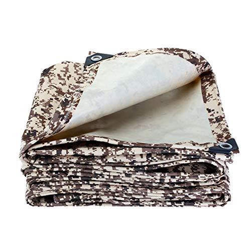 EastMetal Impermeable Reforzada [450 g/㎡] + Cuerda con Ojetes Metálicos Lona de Protección Duradera Color Camuflaje, para Muebles de JardíN, Piscina, Camiones,2x1.5m