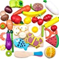 iPlay, iLearn Wooden Cutting Play Food Toy, Pretend Play Cooking Kitchen Set, Magnetic Wood Vegetables Fruits, Early Educational, Learning Birthday Gifts for 3 4 5 6 Year Old Kids Toddlers Boys Girls