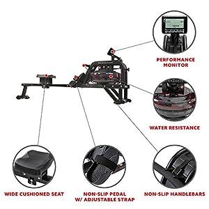 Sunny Health & Fitness Obsidian Surge 500 Water Rowing Machine - SF-RW5713