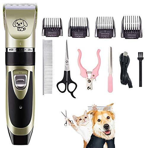 All-in-1 Dog Shaver Clipper, Elektrischer Kabelloser Tierhaarschneider für Hundefelle, Geräuscharmes, Wiederaufladbares Pflege-Friseurwerkzeug, Haarschneideset, Pet Shaver-Pflege-Kit