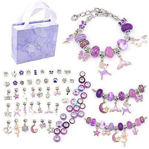 Conjunto de pulsera de niña de bricolaje, Conjunto de fabricación de joyas para niña, 63 piezas Bonito kit para hacer pulseras, Regalo de cumpleaños, regalo de navidad para Niñas 7-14 Años (Púrpura)
