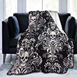 60'X50' Comfort Throw Blankets Ultra Soft and Fluffy Blankets Throw Blankets for Couch and Living Room Fall Winter and Spring - Gothic Skull Damask Scary Halloween Blankets