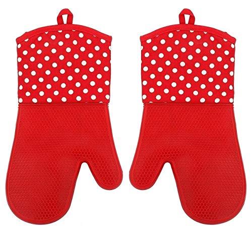 HelpCuisine® Premium Qualität 1 Paar hitzeschutz Handschuhe aus Silikon und Baumwolle grillhandschuhe backofenhandschuhe Topfhandschuhe mit rutschfeste oberfläche hitzebeständig bis 230 °C