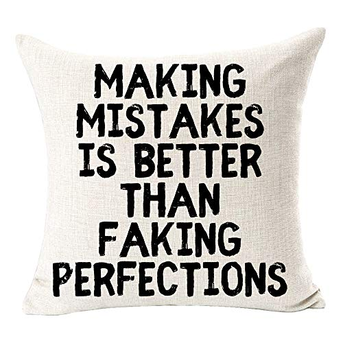 BUSAMEDO Inspirational Making Mistakes is Better Than Faking Perfections Best Gift Sweet Home Cactus Cotton Linen Decorative Throw Pillow Cover Cushion Case Decor Sofa Square 18 inch (White)