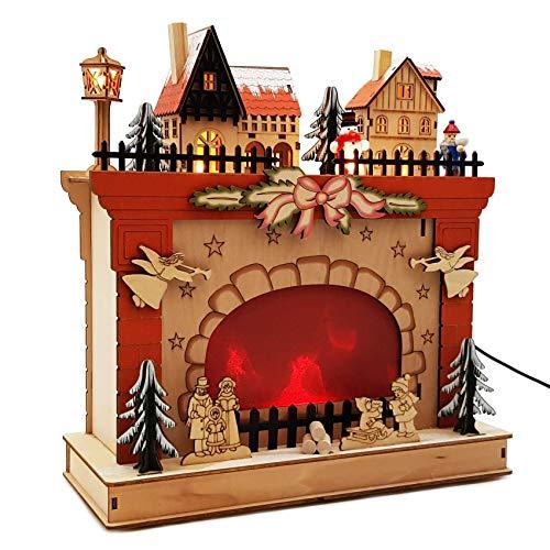 """Wichtelstube-Kollektion \""""Weihnachtskamin LED Weihnachtsdeko aus Holz Weihnachtsdekoration inkl. Trafo"""