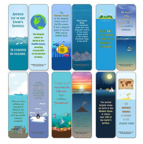 Creanoso Ocean Fun Facts Bookmarks Cards (12-Pack) - Stocking Stuffers Premium Quality Gift Ideas for Children, Teens, & Adults - Corporate Giveaways & Party Favors