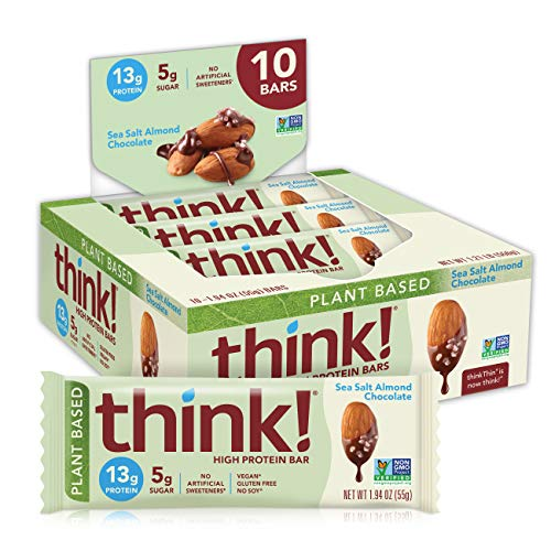 think! (thinkThin) Vegan/Plant Based High Protein Bars-Sea Salt Almond Chocolate,13g Protein,5g Sugar,No Artificial Sweeteners,Gluten Free,Non GMO Project Verified,1.94oz bar,10 Count-Package May Vary
