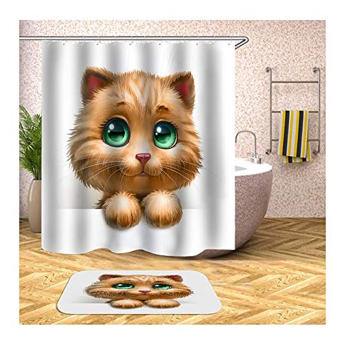 Knbob Polyester Duschvorhang & Badteppich Set Katze mit 12 Duschvorhangringen