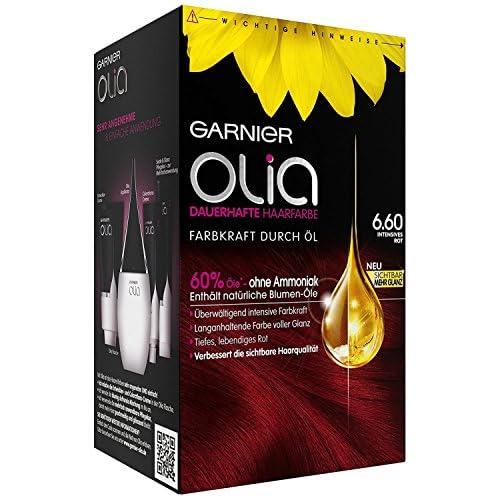 Garnier Olia - Colorazione intensiva per capelli rosso 6.60 / colorazione per capelli contiene il 60% di oli floreali per una maggiore forza colore - senza ammoniaca - 3 x 1 pezzo