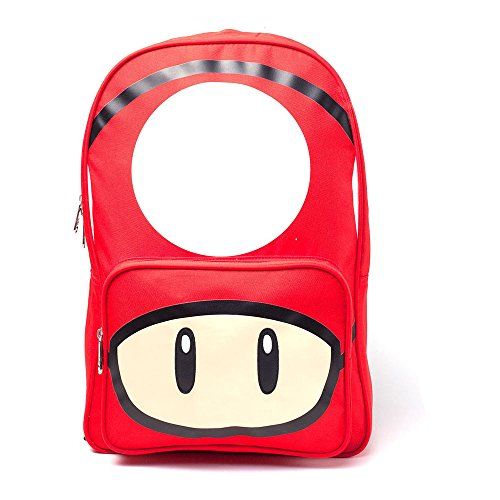 Nintendo Super Mario Bros Rucksack mit Pilz-Druck, lässiger Tagesrucksack, 28 cm, 20 l, Rot