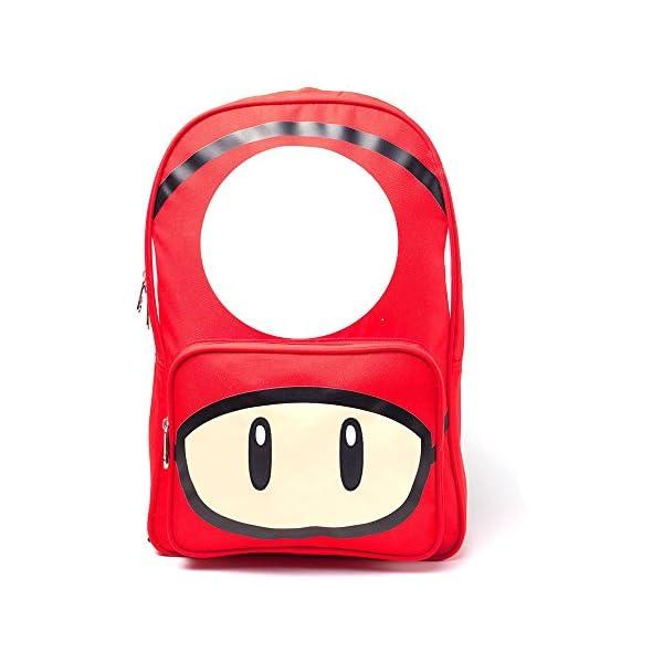 Nintendo Mochila Super Mario Bros con estampado de hongos casual, 28 cm, 20 L, color rojo