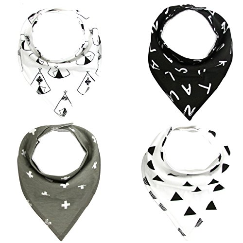 Pack of 4 Cotton Reversible Drool Baby Bibs,HNHC Soft for Boys & Girls (Geometric+Letter+Cross)