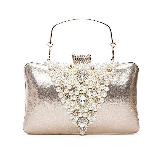 BAIGIO Abendtasche Damen Clutch Tasche Glitzernd Umhängetasche mit Perlen Strass für Hochzeit Party (Gold)