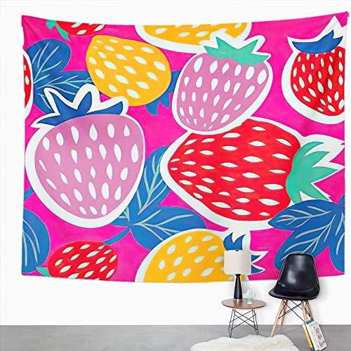 Y·JIANG Tapiz de fresa, fresa dulce, verano y fresas, decoración para el dormitorio, tapiz grande, manta ancha para colgar en la pared para sala de estar, dormitorio, 60 x 50 pulgadas