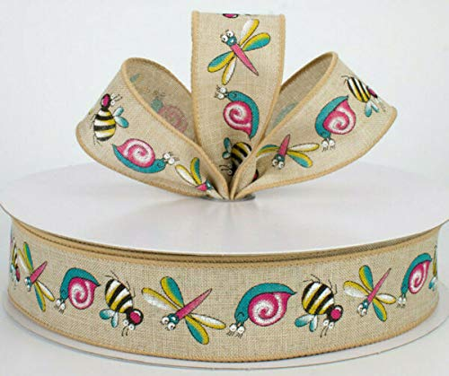 LILAMI Wired Ribbon Supplies for 1.5' Canvas Bugs Insects Bumble bee Snails Dragonflies Cartoon 5yd for DIY Craft, Gift Wrapping, Christmas Wreaths Decoration.