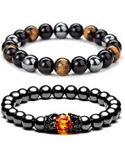 ZZ ZINFANDEL 8mm Triple Protection Hematite Magnetic Therapy Bracelet, 2PCS Hematite Beads+Black Obsidian+Tiger's Eye Stone Couple Bracelets for Men Women