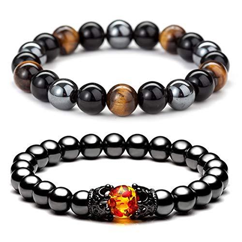 ZZ ZINFANDEL 8mm Triple Protection Hematite Magnetic Therapy Bracelet, 2PCS Hematite Beads+Black Obsidian+Tiger's Eye Stone Couple Bracelets for Men Women (B)