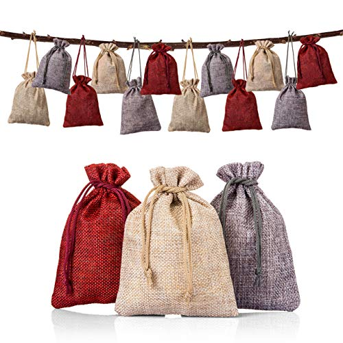 Naler 24 Pieces Hanging Burlap Bags Candy Gift Bags Drawstring Pouch Burlap Sacks for DIY Xmas Christmas Home Decorations, 3 Colors