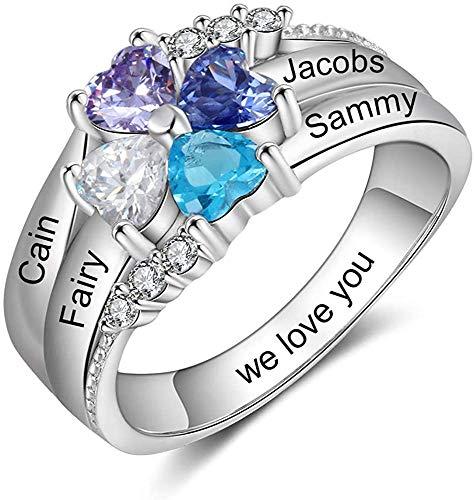 DaMei Personalisierte Damen Ringe Silber mit Gravur 4 Namen 4 Simulierte Birthstone Geburtsstein Familie Ring für Hochzeitsring Verlobungsring für bff Freundin Ehefrau Mutter (Silver, 57 (18.1))