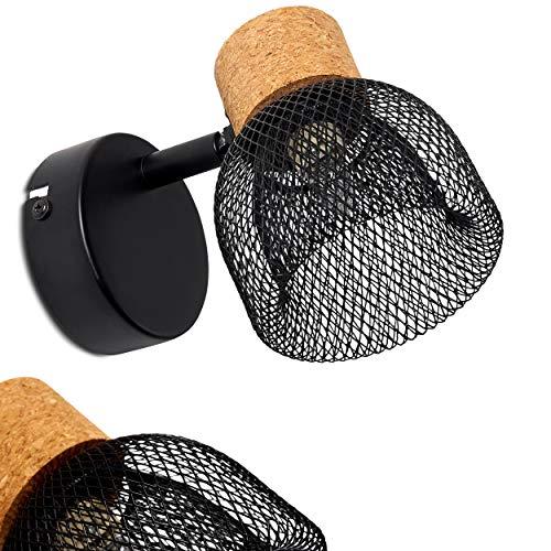 Aplique Grongroft de metal/corcho en negro/marrón, 1 x G9 máx. 6 vatios, en diseño retro/vintage con efecto luminoso y rejilla óptica, adecuado para bombillas LED, ideal para salón y pasillos