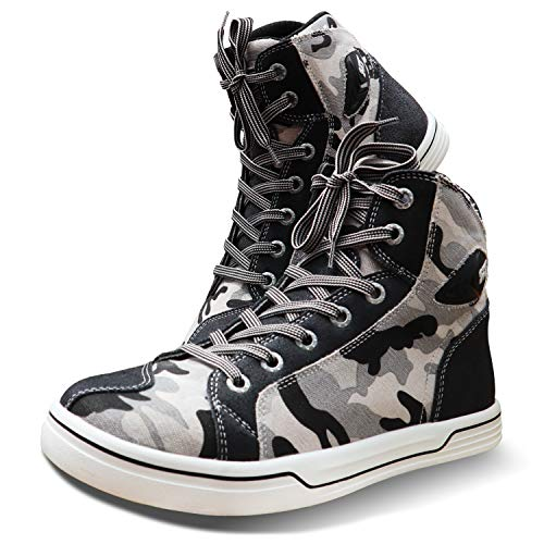 Urban Motorcycle Riding Shoes,Breathable Bovine Leather Impact-resistant Fashion Streetbike Riding Boots (WHITE CAMO, US 9 / EU 43)