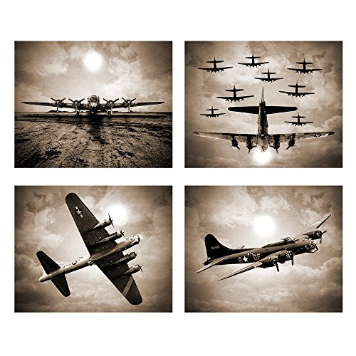 Wallables Vintage Sky Aviation Wall Art in Rich Sepiatone Set of Four 8x10 Airplane Theme Decor Prints, Great for Mens Gift, Office, Home, Bachelor pad, Barbershop Decoration! Only at
