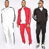 HUSHION Men's Two Piece SetsSpring and AutumnSweat Suits Zipper Tracksuits Male Sport Jackets Set Sportswear Man, White-XL