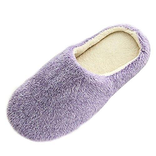 SAGUARO Mujer Hombres Zapatillas Otoño Invierno Interior Casa Caliente Slippers Suave Algodón Zapatilla Pareja Zapatos, 37/38 EU=38/39 CN Morado